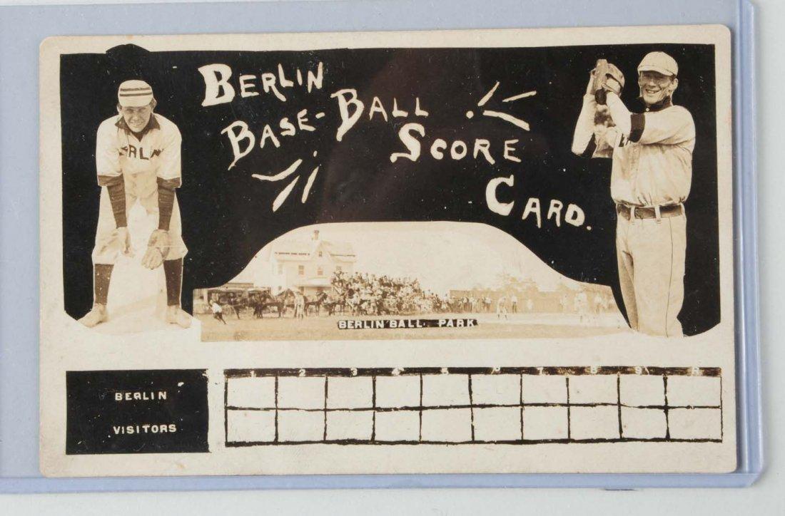 C. 1908 Berlin Baseball Team Scorecard Postcard.