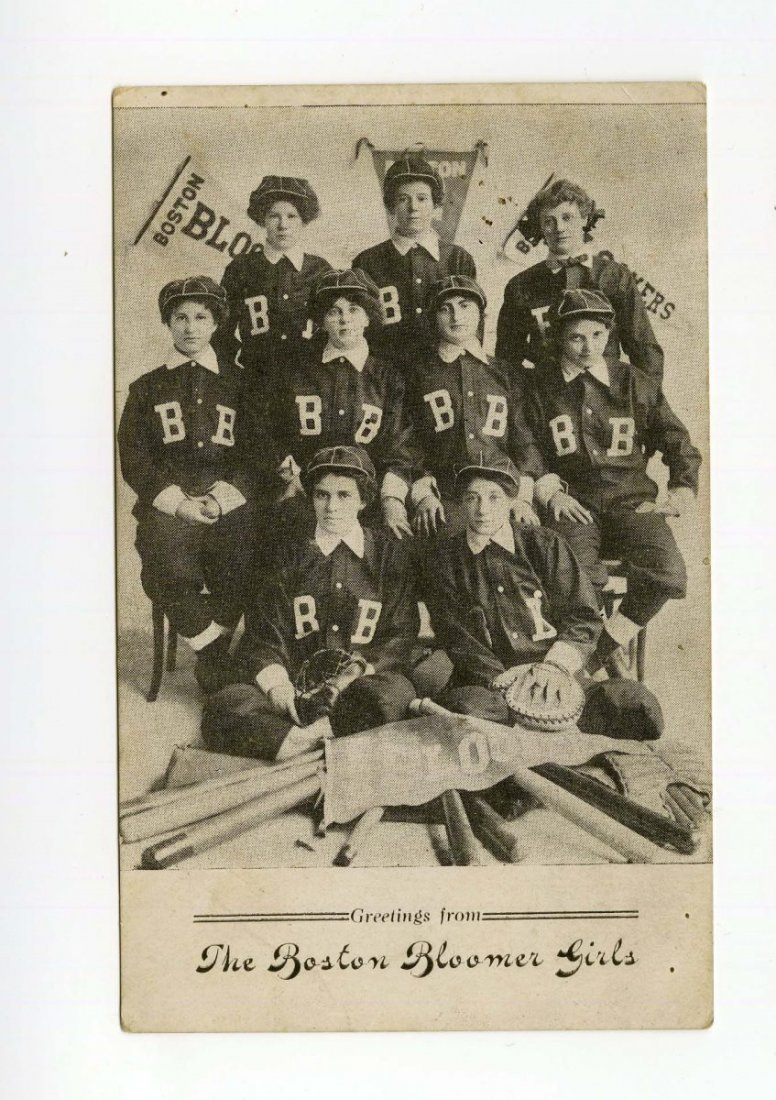 Circa 1908 Boston Bloomer Girls Baseball Postcard