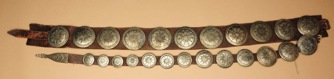 Early 20th Century Plains Womens Concho Belt.