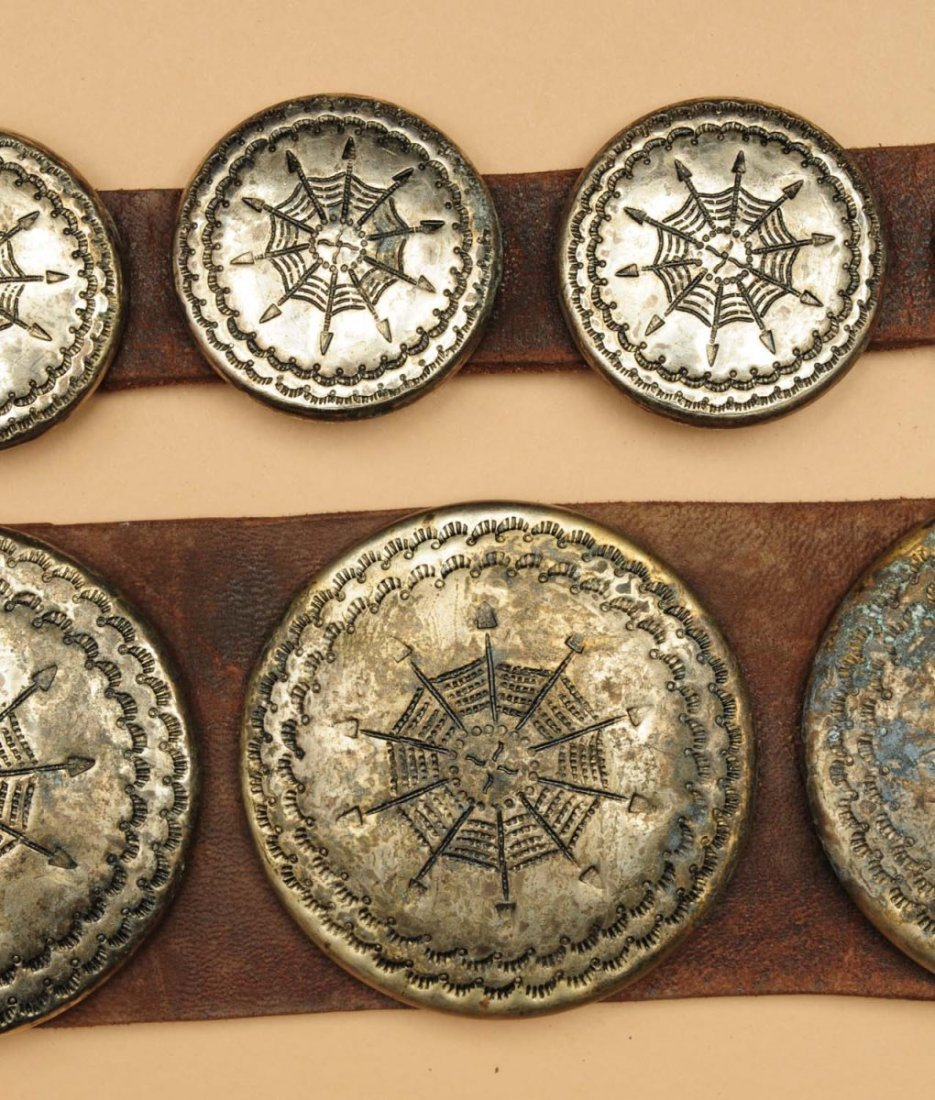 Early 20th Century Plains Womens Concho Belt. - 2