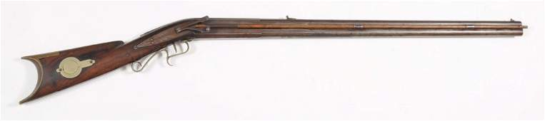 Early Over Under Side Hammers Percussion Rifle.