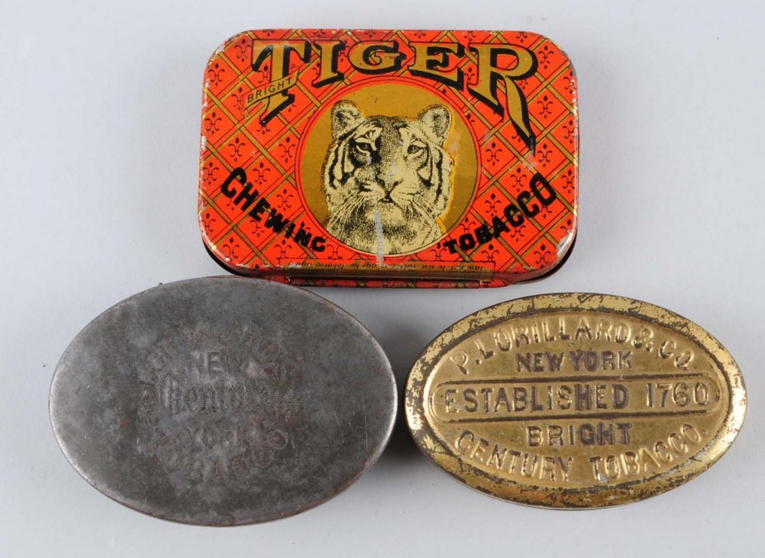 Lot of 3: Flat Pocket Tobacco Tins.