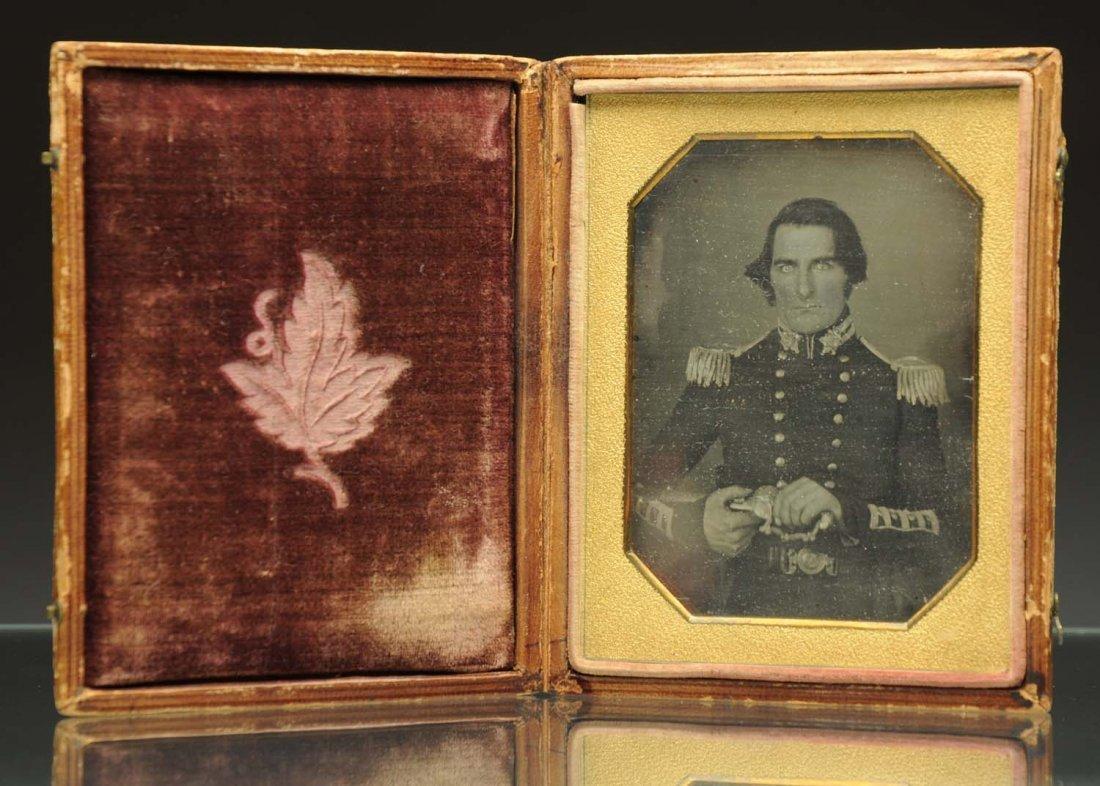 Daguerreotype of a Soldier Holding Sword.