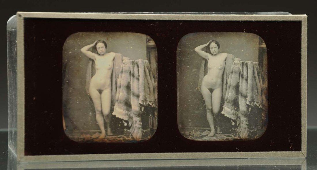 Daguerreotype Stereoscope of Nude Woman.