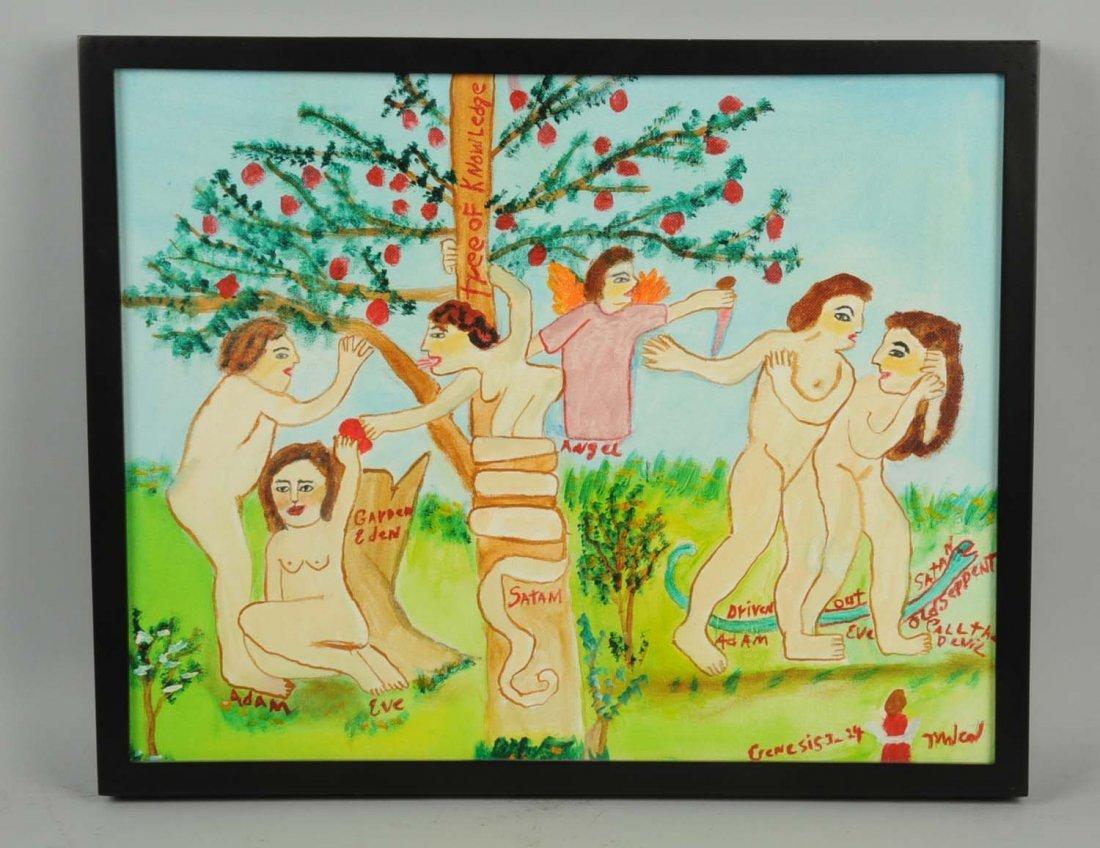 Folk Art Tree of Knowledge Oil on Board.
