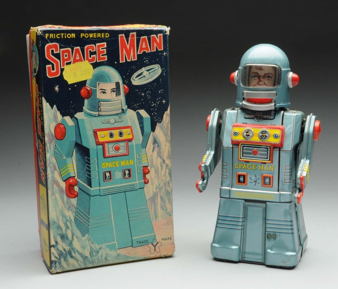 Japanese Tin Litho Friction Spaceman Toy.