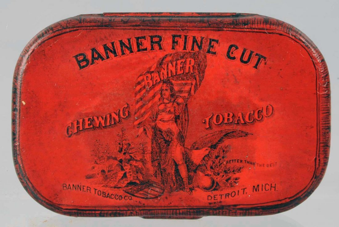 Banner Fine Cut Chewing Tobacco Flat Pocket Tin.