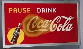 Large Coca Cola Tin Advertising Sign