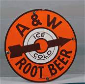 A  W Root Beer Round Porcelain Sign
