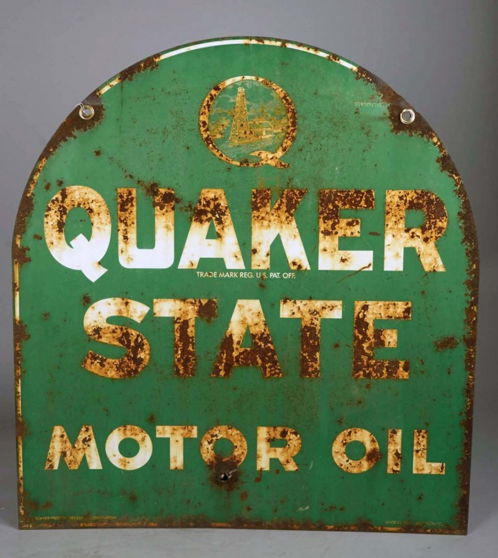 Quaker State Motor Oil Metal Advertising Sign