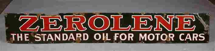 Lot of 2 Signs Zerolene Oil  Red Crown Gasoline