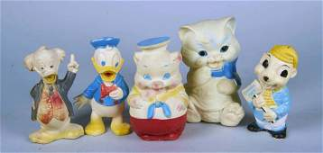 Lot Of 5: Rubber Vinyl Character Squeak Toys