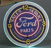 Ford Large Neon  Metal LightUp Clock Sign
