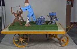 Motorized Country Fair Farmer and Dog Display.