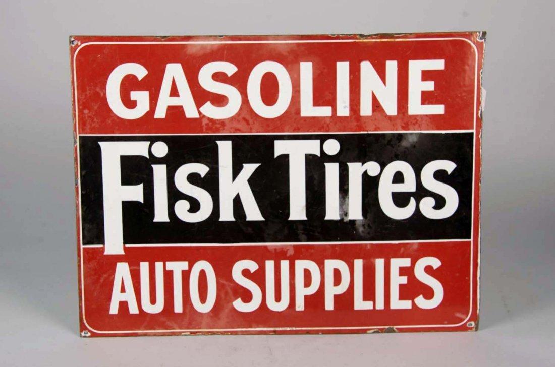 Fisk Tires Double-Sided Porcelain Sign
