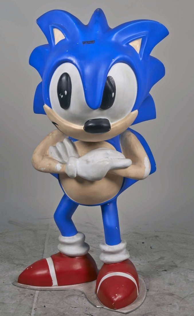 Life Size Plastic Sonic The Hedgehog Statue.