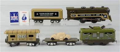 Assorted Marx Military Trains.