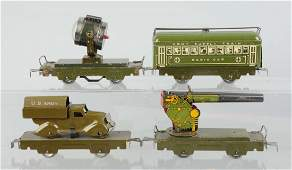 Lot of 4: Marx Military Train Cars.
