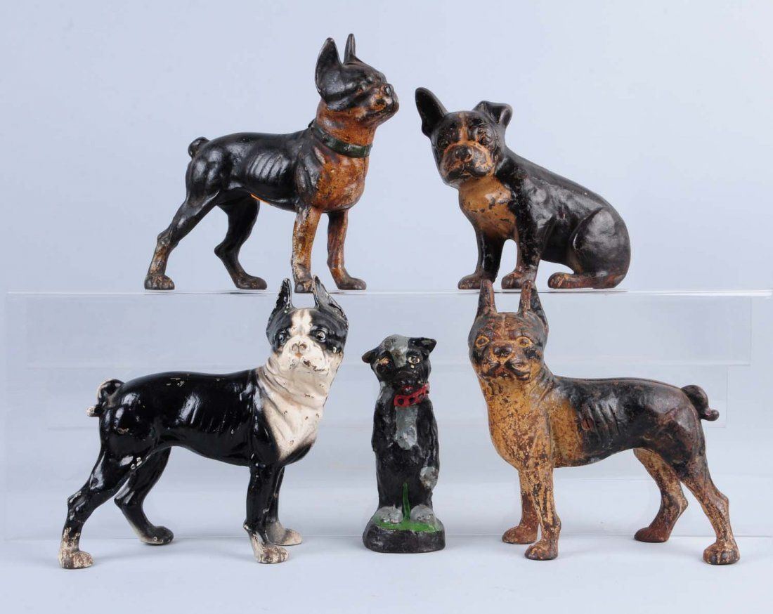 Lot Of 5: Cast Iron Boston Terrier Dog Doorstops.
