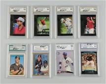 Lot Of 8 Graded Baseball  Golf Cards