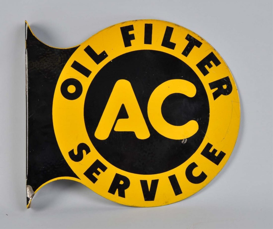 AC Oil Filter Service Tin Flange Sign.