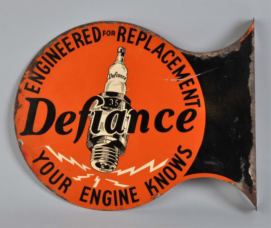 Defiance Spark Plugs Tin Flange Sign.