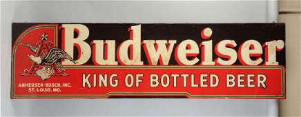 Anheuser-Busch Budweiser Embossed Tin Sign.