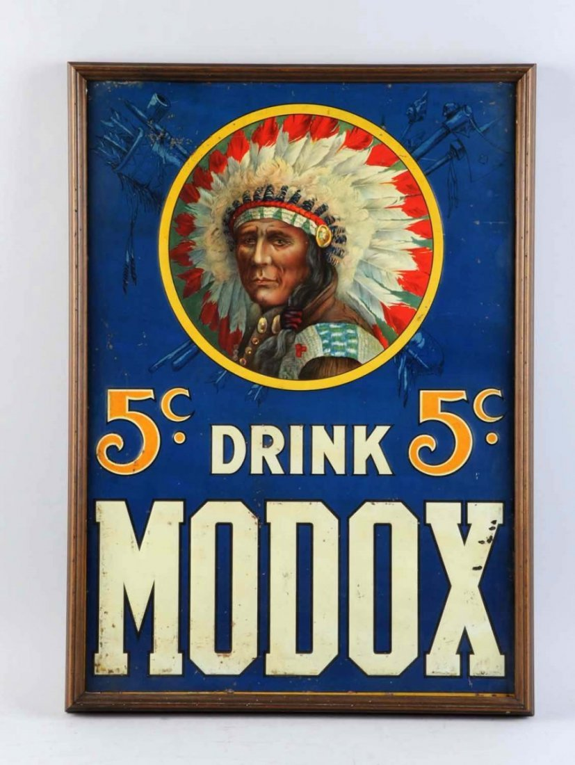 Circa 1900 Modox Embossed Tin Sign.