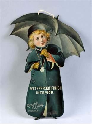 Early Keystone Varnish Co. Die Cut Tin Sign.