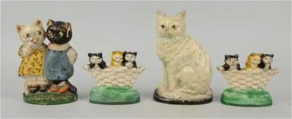 Lot Of 4: Cast Iron Cat Doorstops & Bookends.
