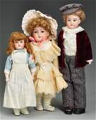 Lot of 3: German Bisque Child Dolls.