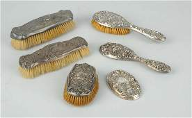 Lot Of 6 Sterling Silver Hair Brushes
