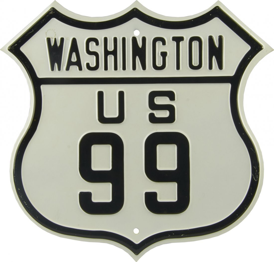 US 99 Washington Embossed Metal Sign