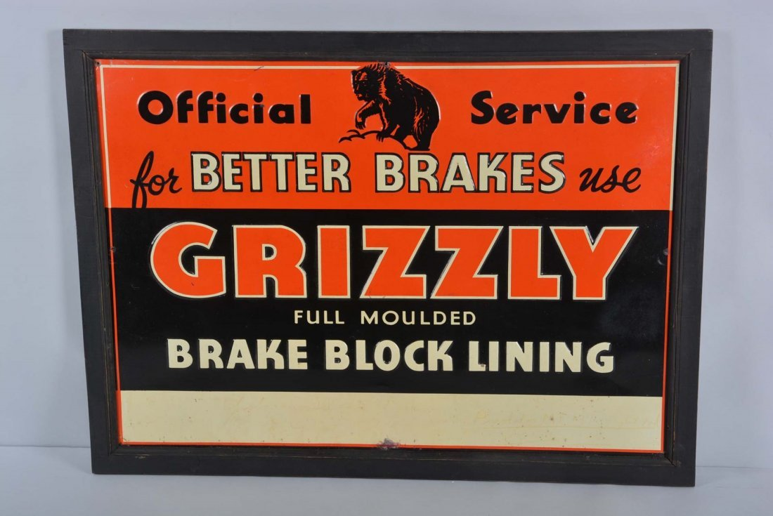 Grizzly Single Sided Tin Embossed Sign