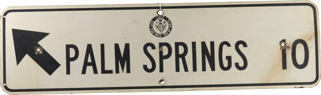 Palm Springs 10 Miles Porcelain Road Sign