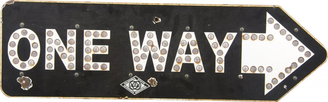 AAA One Way Reflective Porcelain Road Sign