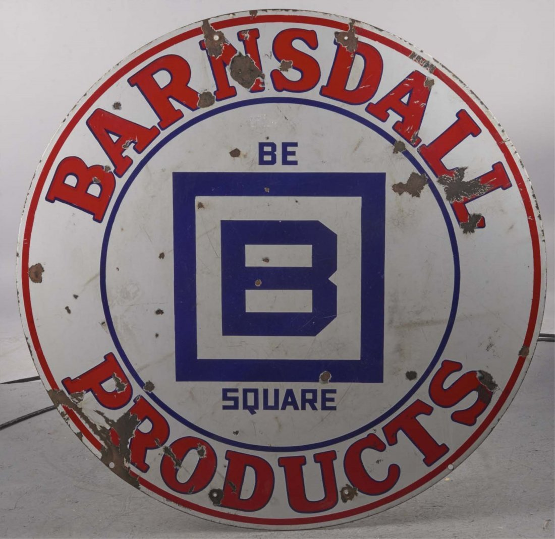 Round Barnsdale Product Porcelain Sign