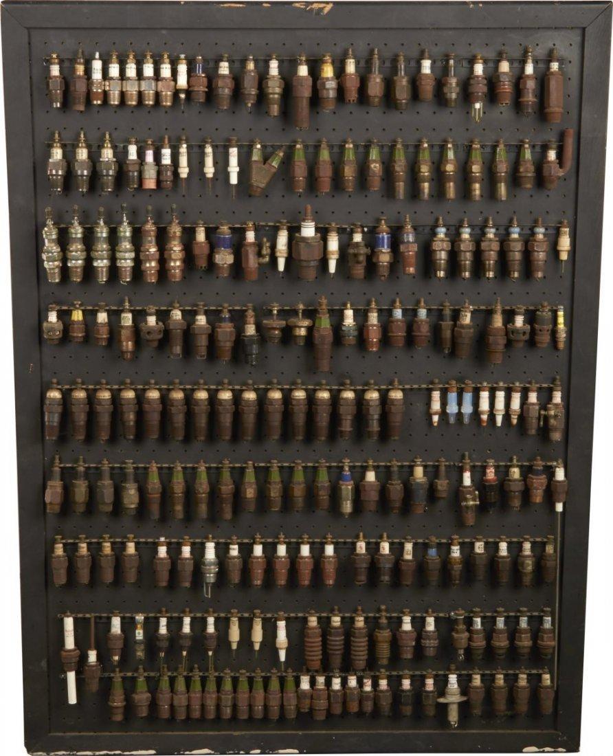 Lot Of 199 Vintage Spark Plugs Mounted On Board