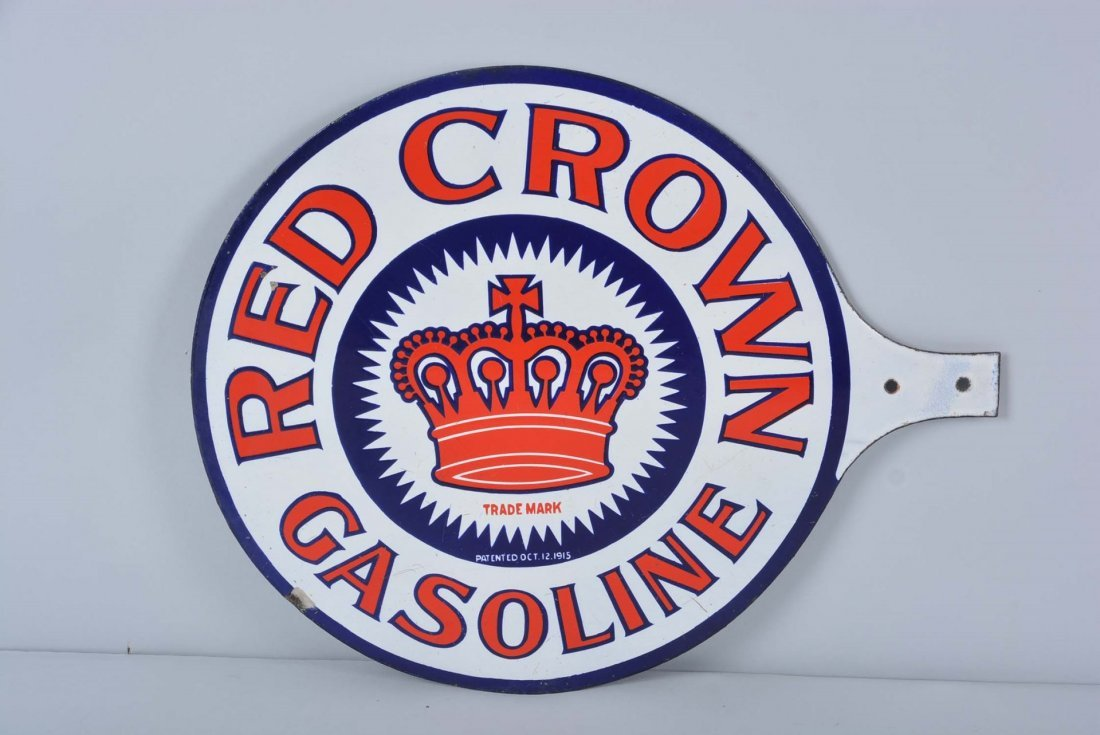Red Crown Gas Double Sided Porcelain Paddle Sign