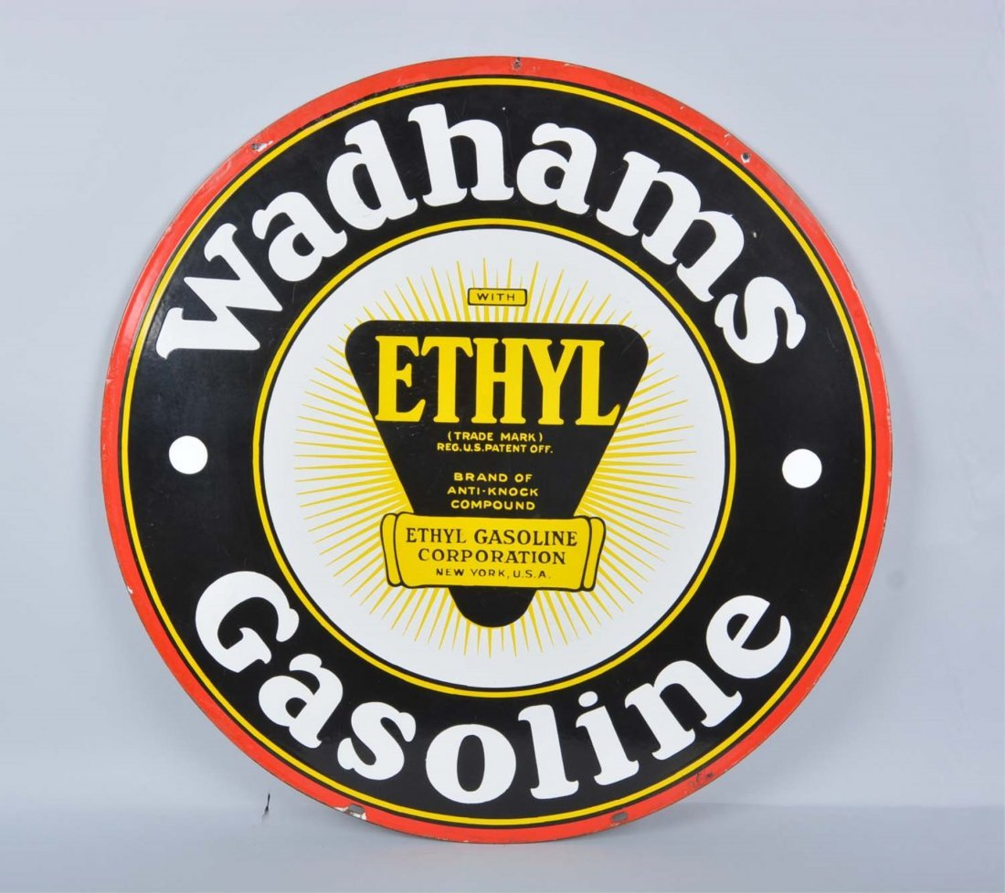 Wadhams Gasoline Double Sided Porcelain Sign