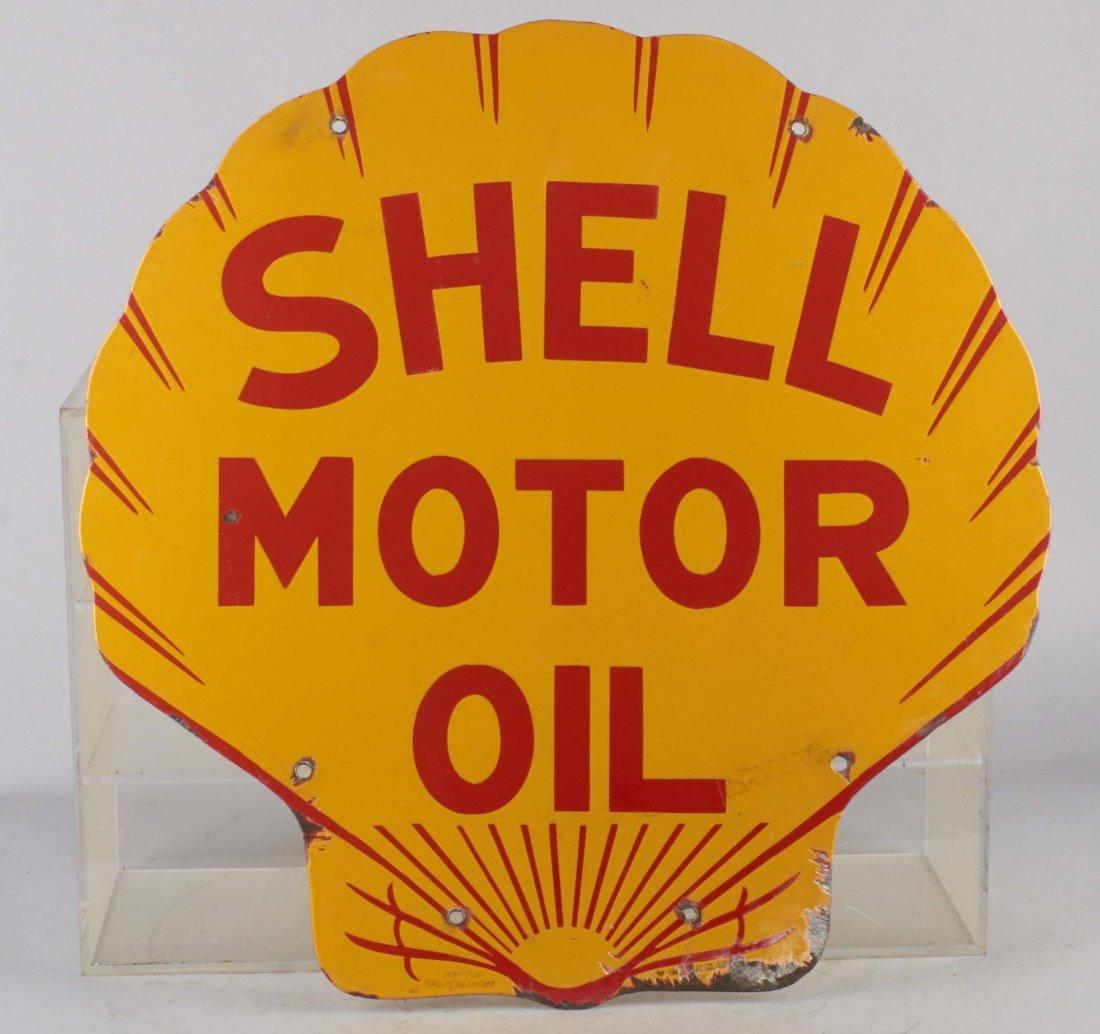 Shell Motor Oil Double Sided Porcelain Sign