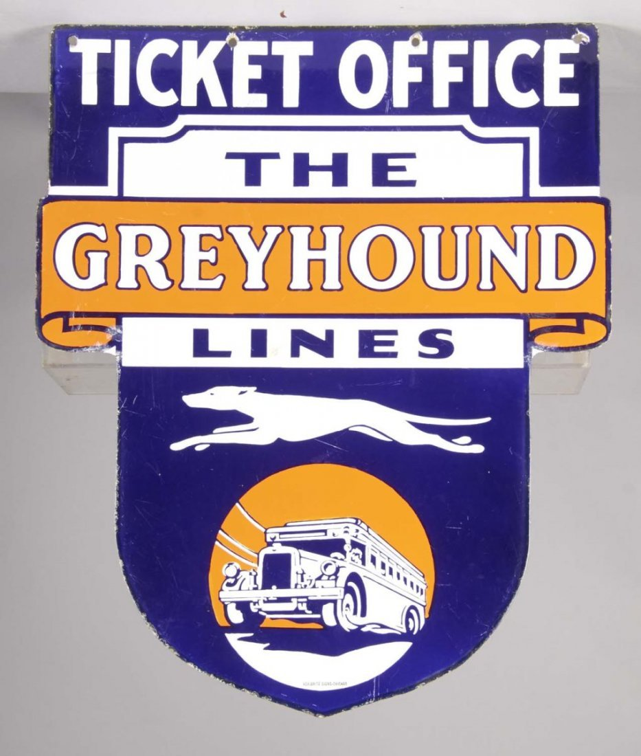 The Greyhound Lines Ticket Office Porcelain Sign