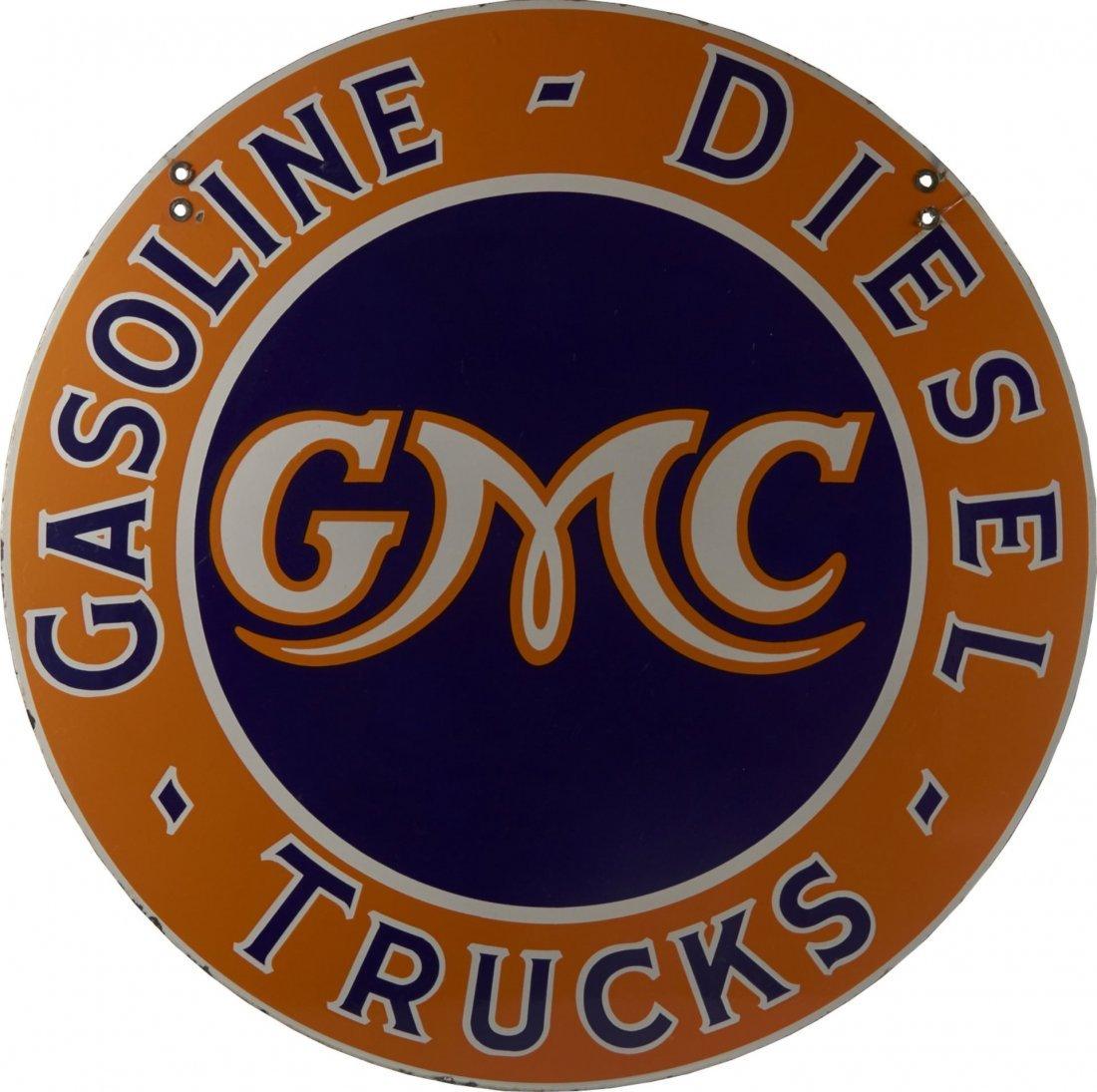 GMC Gasoline Diesel Trucks Round Porcelain Sign
