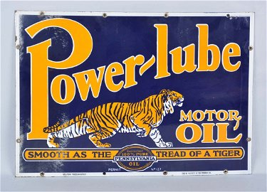 Power-lube Motor Oil Double Sided Porcelain Sign - May 02