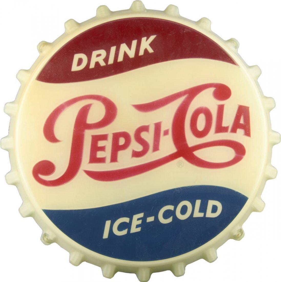 Pepsi-Cola Light Up Bottle Cap Sign