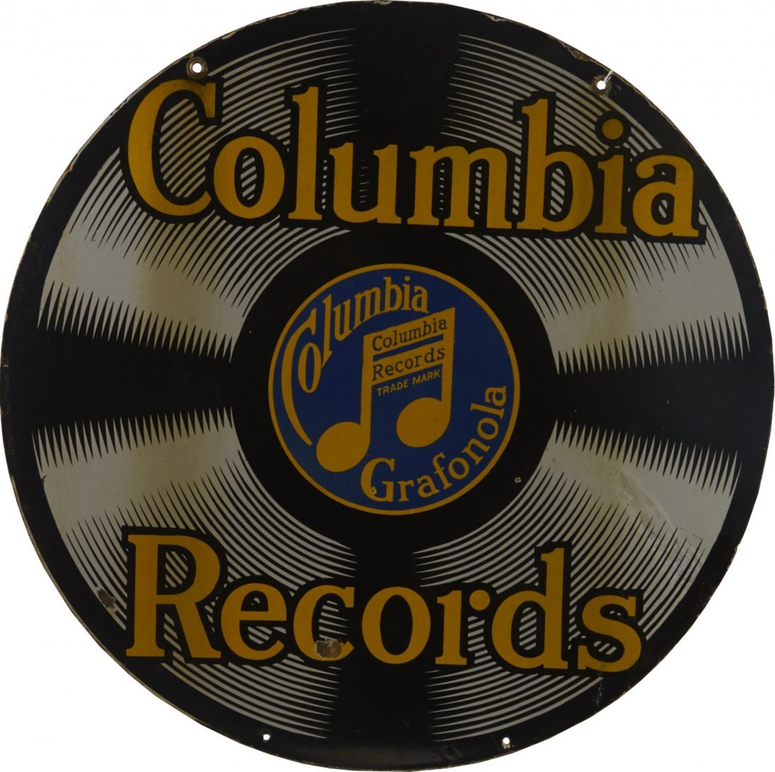 Original Columbia Records Round Porcelain Sign