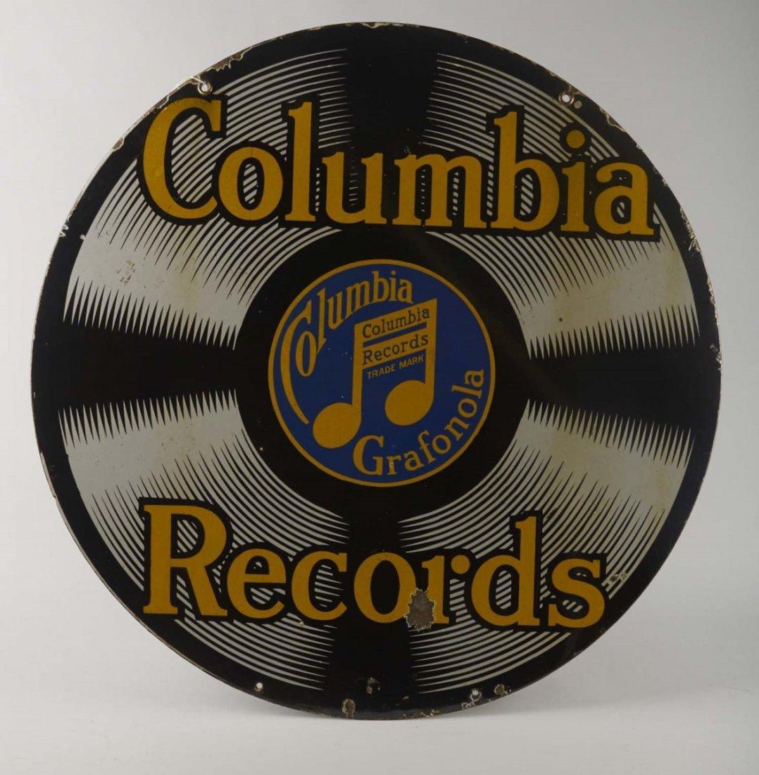 Original Columbia Records Round Porcelain Sign - 2