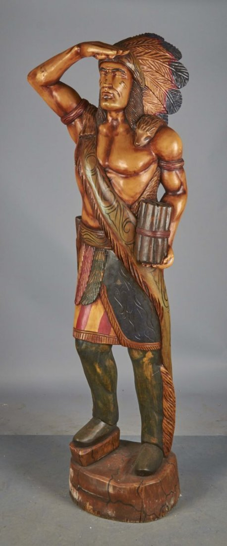 Tall Carved Wooden Cigar Store Indian Statue