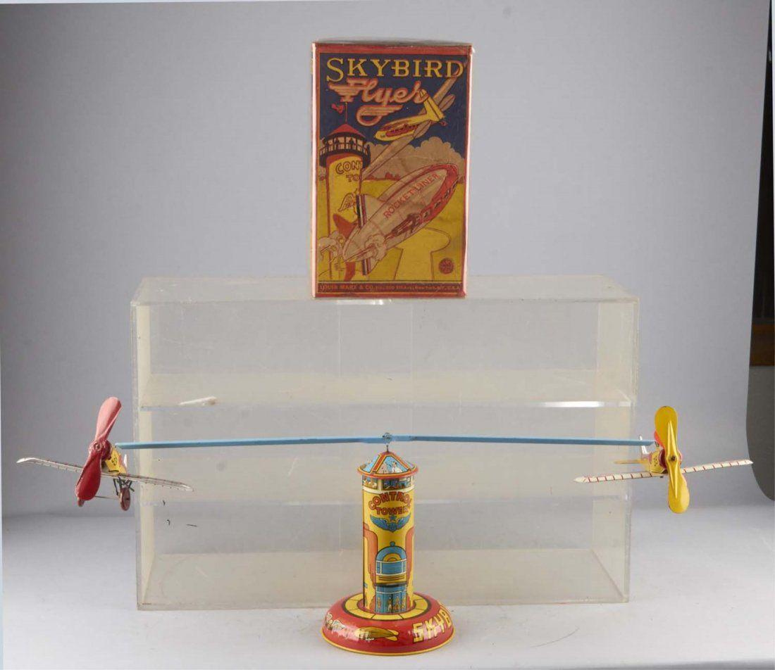 Marx Skybird Flyer Tin Litho Windup Toy & Box