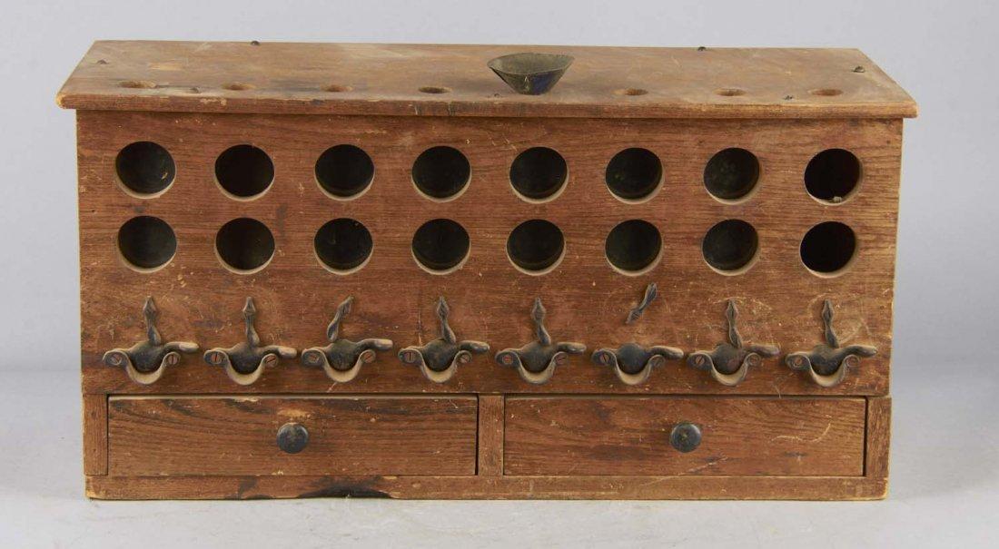 Antique Wood Countertop Buck Shot Dispenser - 2